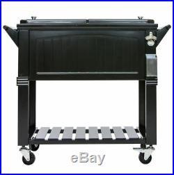 Permasteel 80 Qt. Black Antique Furniture Style Rolling Patio Cooler