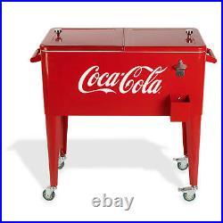 Permasteel 80 Qt. Rolling Patio Cooler Cart in RED w Logo Coca