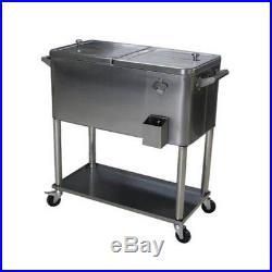 Permasteel 80 Qt. Stainless Steel Patio Rolling Cooler