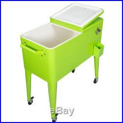 Permasteel 80 Quart Steel Coated Rolling Insulated Basin Patio Cooler, Green