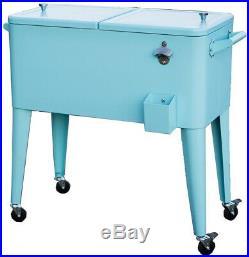 Permasteel Patio Cooler Rolling Cart 80-Quart Fade Resistant Steel (Turquoise)