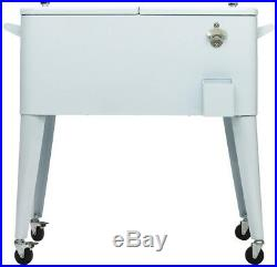 Permasteel Rolling Chest Cooler Cart 80 Qt Insulated Basin White Outdoor Patio