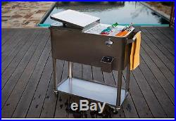 Permasteel Stainless Steel Patio Cooler 80 Qt. With Bottom Tray Locking Wheels