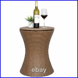 Pool Ice Cooler Table Cool Bar Rattan Patio WithHeight Adjustable Top Outdoor