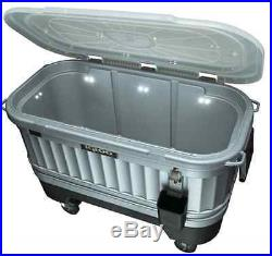 Portable Bar Cart Party Cooler On Wheels Ice Chest Beverage Bottle Opener Lights