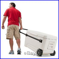 Portable Ice Chest 110 Qt Wheeled Wheels Cooler Beverage Picnic Camping Party