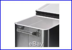 Portable Rolling Ice Chest Cooler 80 Quart Stainless Steel Shelf Party Outdoor