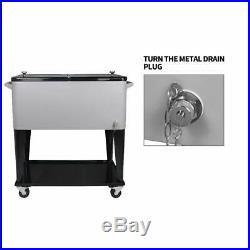 Portable Rolling Storage Cooler cart 80 QT Trolley Iron Beer Cooler Cart