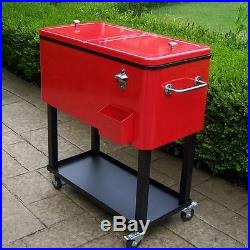 RED OUTDOOR ROLLING PORTABLE PATIO ICE CHEST COOLER CART Deck Entertaining
