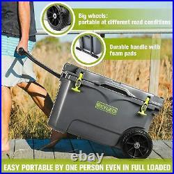 REYLEO 50 Quart Portable Rotomolded Cooler(with Wheels), Heavy-Duty Ice Chest