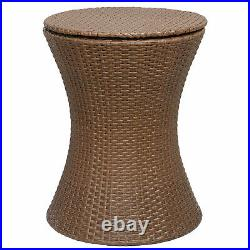 Rattan Cool Bar Brown Outdoor Patio Pool Party Ice Cooler Table Chest Set