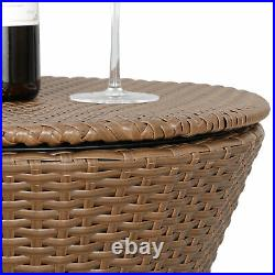 Rattan Cool Bar Wicker Ice Cooler Table Bistro Pool Summer Deck Patio Furniture