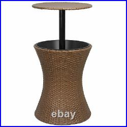 Rattan Cool Bar Wicker Ice Cooler Table Patio Furniture Bistro Pool Summer Deck