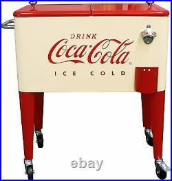 Red Cream Coca Cola Retro Dual Lid 60 Quart Rolling Party Cooler Portable Steel