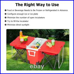 Red Multi-Function Rolling Cooler Table 2 Chairs Outdoor Picnic Beach Camping