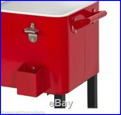 Red Rolling Outdoor Cooler Ice Chest Portable Beverage Cart Pool Beer Patio Deck