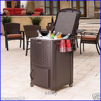Resin Wicker Cooler 77 Qt holds 72 cans Patio Deck Indoor Outdoor New