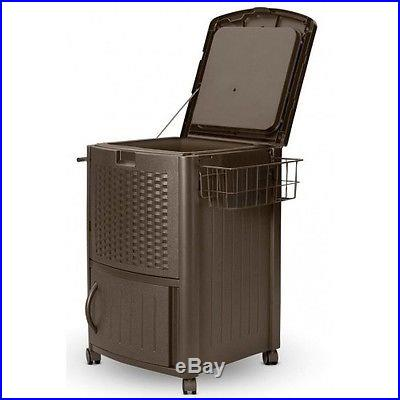 Resin Wicker Cooler Patio Ice Chest 77 Quart Beverage Holder Storage Deck Party
