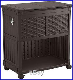 Resin Wicker Cooler Station Storage For Indoor Outdoor Occasion Dual Lid Brown