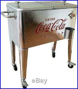 Retro Vintage Classic 60 Qt Embossed Galvanized Coca-Cola Rolling Cooler Box BBQ