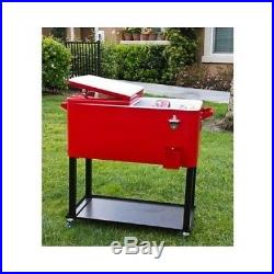 Rolling Chest Cooler Ice Deck Patio Outdoor Party Pool Steel Cold Beverage BBQ