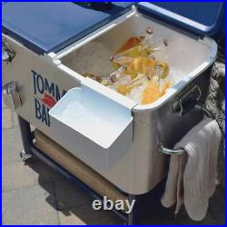 Rolling Cooler 100 Quart Stainless Steel With Side Self Beverage Storage Outdoor