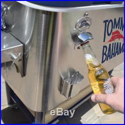 Rolling Cooler 100 Quart Tommy Bahama Folding Side Shelf Stainless Steel New