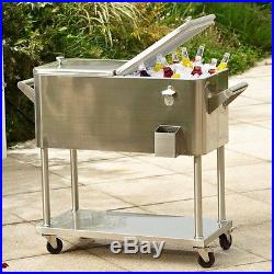 Rolling Cooler Cart Stainless Steel 80qt Patio Entertaining Ice Beer Chest New