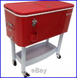 Rolling Cooler Ice Chest Portable Home Outdoor Patio Party Cart Metal Stand Red