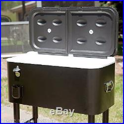 Rolling Cooler Large Portable Capacity Ice Chest Party Outdoor Patio Deck Drink