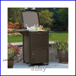 Rolling Ice Chest Cooler Storage Box Outdoor Patio Furniture Wicker Resin, New