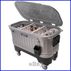 Rolling Ice Chest Cooler Tank Drink Box Beverage Garden Party LED Nighttime Bar