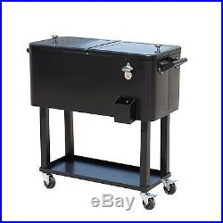 Rolling Ice Chest Portable Patio Party Drink Cooler Cart, 80-Quart, Black