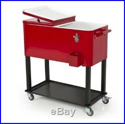 Rolling Outdoor 65 Quart Solid Steel Home Party Picnic Patio Deck Cooler Roller