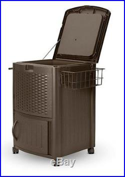 Rolling Outdoor Cooler Patio Ice Chest Deck Party Portable Beverage Cart Wicker
