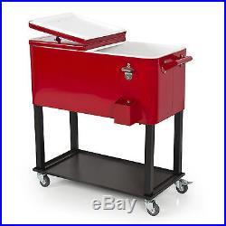 Rolling Outdoor Home Party 65 Quart Steel Patio Deck Ice Wine Cooler Cart New