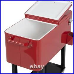 Rolling Outdoor Patio Party Ice Chest Steel Cooler Bottle Opener Storage Tray