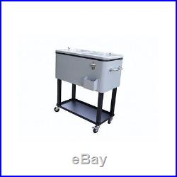 Rolling Patio Deck Cooler Outdoor 80 Qt Steel Party Ice Chest Beverage BBQ Pool
