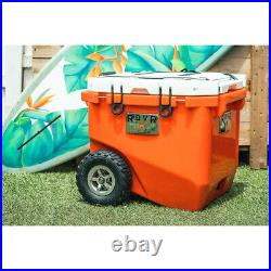 RovR 45DROLLRW Rolling Outdoor Insulated Cooler with Wheels, 45 Quart, Orange