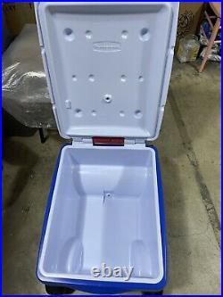 Rubbermaid Gatorade Cooler Wagon 4 Wheels Picnic Buggy Ice Chest 48 Quart Blue