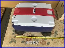 Rubbermaid Pepsi Cooler Wagon 4 Wheels Picnic Buggy Ice Chest 48 Quart Blue