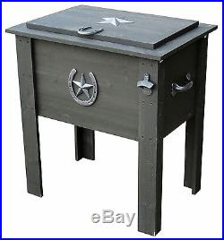 Rustic Country Cooler 54 Qt Vintage Ice Chest Bottle Opener Picnic Patio Outdoor