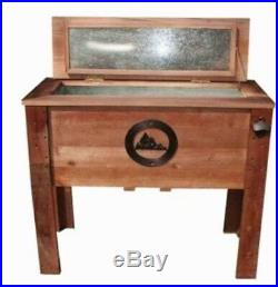 Rustic Ice Chest Wooden Quart Party Cooler Deck Patio Cookouts Outdoor Mountain