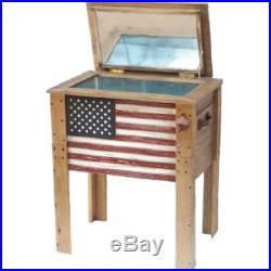 Rustic Wooden Deck Cooler Flag 57 Quart Wood Patio Pool Party Outdoor Patriotic