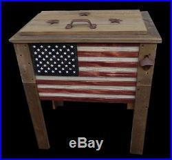 Rustic Wooden Flag 57 Quart Deck Cooler! Wood Patio Pool Party Outdoor Patriotic
