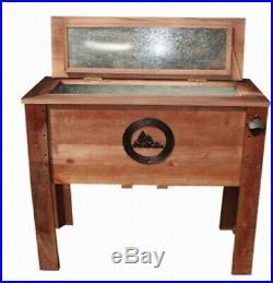 Rustic Wooden Outdoor Cooler 45 Quart Wood with Steel Liner Insulated Patio Deck