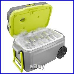Ryobi 50 Qt Air Conditioned Cooling Cooler with Battery, Charger Rolling Wheel NEW