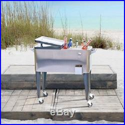 STAINLESS STEEL RETRO ROLLING Ice Chest COOLER Patio Party Outdoor Portable Cart