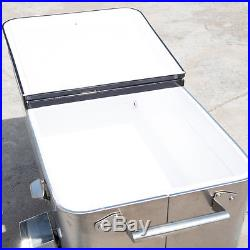 Stainless Steel 20 Gallon Portable Rolling Cooler Cart Storage Ice Chest Patio