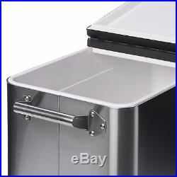 Stainless Steel Cooler On Wheels Beverage Party Tub Ice Box Outdoor Patio Fun